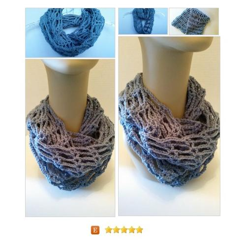 Infinity Cowl #Scarf Blue Crocheted #Wrap #Accessory #etsy #PromoteEtsy #PictureVideo @SharePicVideo