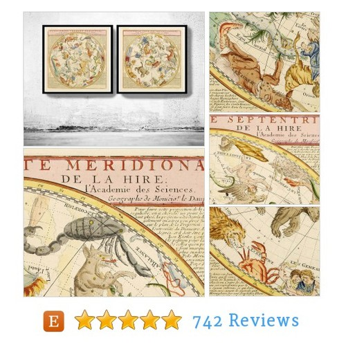 Old Planisphere celeste meridional and #etsy @oldcityprints  #etsy #PromoteEtsy #PictureVideo @SharePicVideo