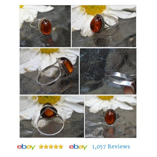 Vintage Deco Signed 925 Sterling Silver Amber Stone Dome Cocktail #Ring Jewelry #Cocktail #ArtNouveau #etsy #PromoteEbay #PictureVideo @SharePicVideo