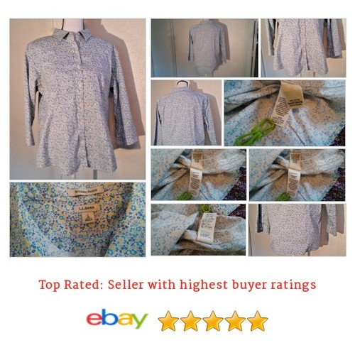 L. L. Bean Women's #Blouse Size L Cotton 3/4 Sleeve Button Down Floral Spring | eBay #Top #LLBean #etsy #PromoteEbay #PictureVideo @SharePicVideo