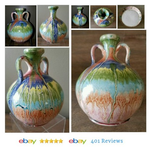 Multi Toned/Colored Drip Glazed Pottery Bud Vase/Jug #Studio #ArtPottery #HandcraftedPottery #etsy #PromoteEbay #PictureVideo @SharePicVideo