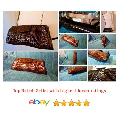 LA REGALE #Clutch Brown Textured Optional Strap Patent Croc Print #Bag #Purse #etsy #PromoteEbay #PictureVideo @SharePicVideo
