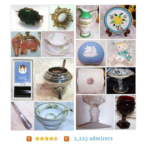 Vintage Jewelry, Glass, China, Pottery, Dolls & Linens by CranberryManor #etsy #PromoteEtsy #PictureVideo @SharePicVideo