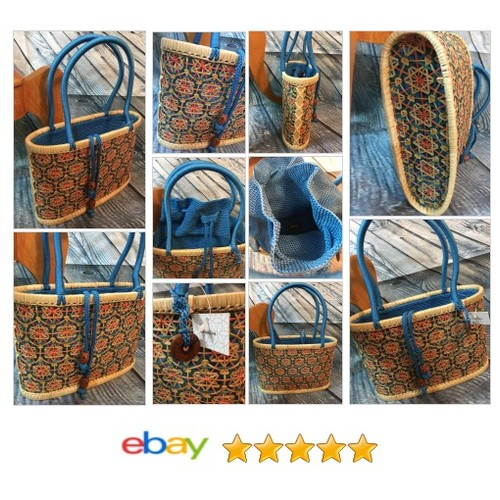 #Purse Rattan Straw Bright Blue Drawstring Crochet Top | eBay #Bag #THESAK #etsy #PromoteEbay #PictureVideo @SharePicVideo