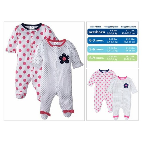 Gerber Baby-Girls Zip Front Sleep 'N Play, Flowers, 3-6 Months (Pack of 2) #socialselling #PromoteStore #PictureVideo @SharePicVideo