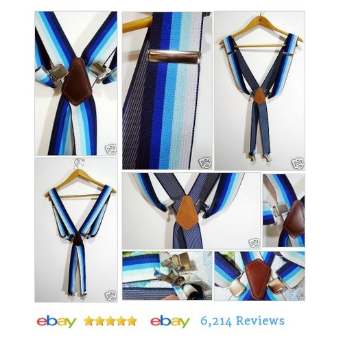 "Mens 2"" Wide Clip On Suspenders - Blue Stripes Leather - Heavy Duty Clips #Brace #Suspender  #etsy #PromoteEbay #PictureVideo @SharePicVideo"