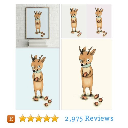 Deer with acorns - Animal Art - Holli - #etsy @paolazakimi  #etsy #PromoteEtsy #PictureVideo @SharePicVideo
