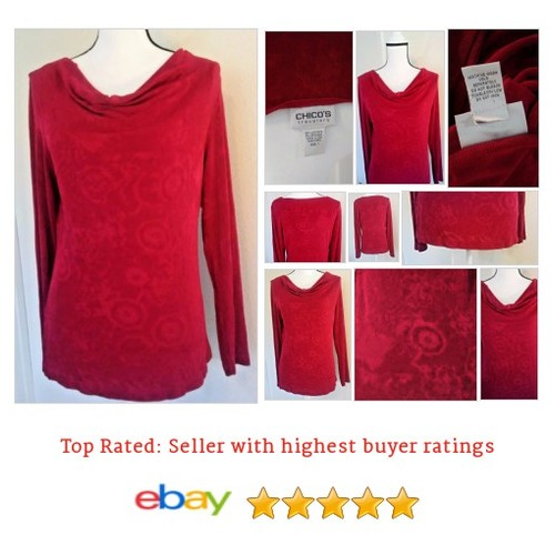 Chicos Travelers Red Embossed Cowl Neck Knit Top~ Cruise Wear~ Size 1 - Medium #Top #Blouse #KnitTop #etsy #PromoteEbay #PictureVideo @SharePicVideo