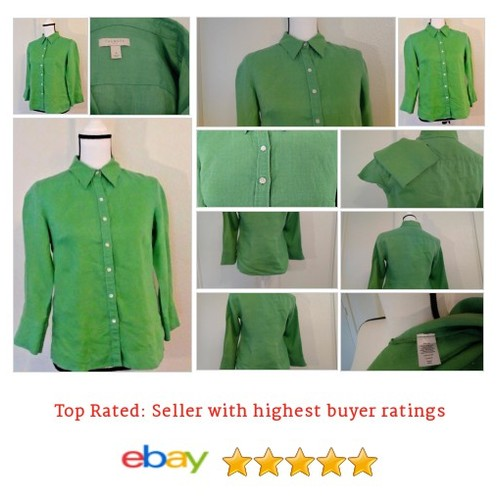 #Blouse Size 4 Button Green Linen Spring Fun Summer Picnic Date #Top #Talbot #etsy #PromoteEbay #PictureVideo @SharePicVideo