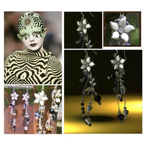 Dangle Earrings - Statement Earrings - Beaded Earrings - Vintage Floral Earrings in Black and White - #etsyspecialt #integritytt #SpecialTGIF #Specialtoo  #TMTinsta      @Demented_RTs  @etsypro  @FameRTR #etsy #PromoteEtsy #PictureVideo @SharePicVideo