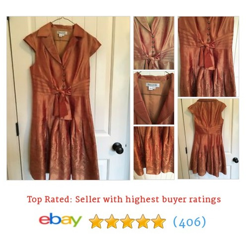 Kay Unger Thai Silk Orange Cocktail Dress size 4 Lined Mid Calf #ebay @ncchickadee12  #etsy #PromoteEbay #PictureVideo @SharePicVideo