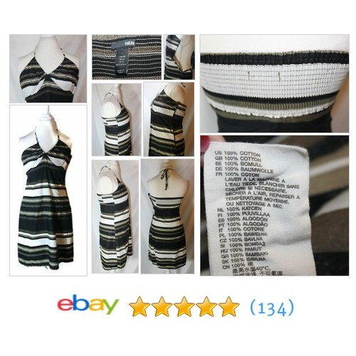 Women's H&M Striped 100% Cotton Halter Sundress with a Side #ebay @stejewels https://www.SharePicVideo.com/?ref=PostPicVideoToTwitter-stejewels #etsy #PromoteEbay #PictureVideo @SharePicVideo