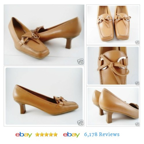 Liz Baker Womens Size 6.5 Leather Pumps Heels Tan Gold Shoes Wood Heel #Pump #Heel #Classic #etsy #PromoteEbay #PictureVideo @SharePicVideo
