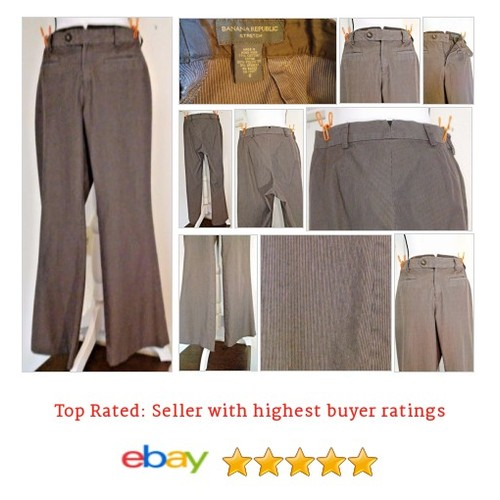 Banana Republic Cotton Blend Brown Striped Full Leg Dress Pants Size 6 Spring #Pant #DressPant #BananaRepublic #etsy #PromoteEbay #PictureVideo @SharePicVideo