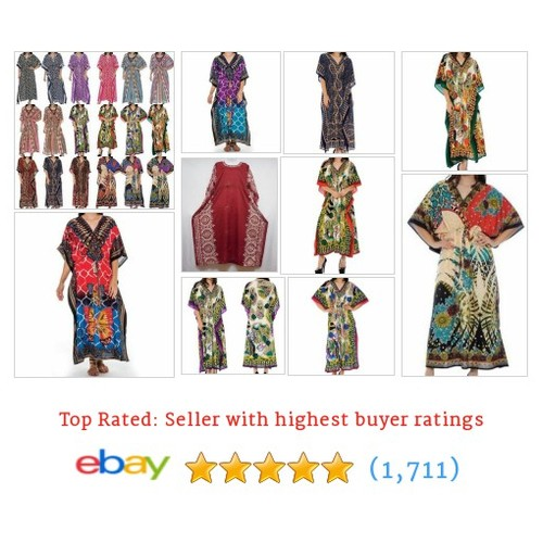 Women's Caftan Boho Maxi Kaftan Dress or Beach Cover Up Fits S M #ebay @edashiki  #etsy #PromoteEbay #PictureVideo @SharePicVideo
