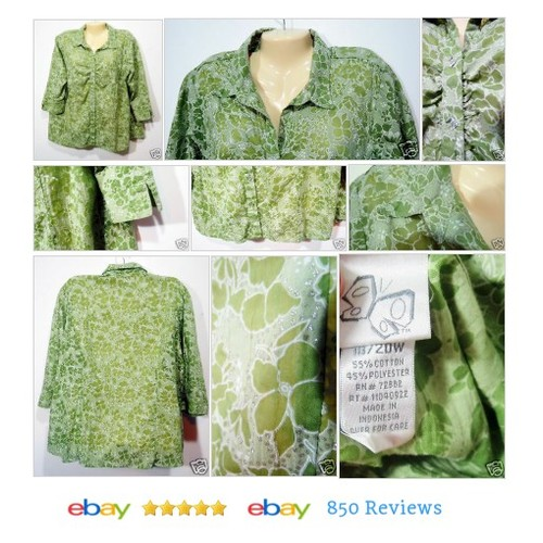 Fashion Bug Womens #Blouse Sz 18 20 Green Floral Glitter Button 3/4 Sleeve #Top #FashionBug #etsy #PromoteEbay #PictureVideo @SharePicVideo