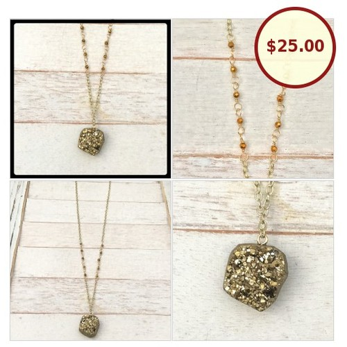 NEW HANDCRAFTED GOLD DRUZY NECKLACE @amiekfreeland https://www.SharePicVideo.com/?ref=PostPicVideoToTwitter-amiekfreeland #socialselling #PromoteStore #PictureVideo @SharePicVideo