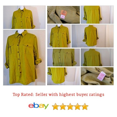 Ruby Rd Women's #Blouse Size 18W Plus Button Up Solid Green Linen Blend Sedona | eBay #Top #RubyRd #etsy #PromoteEbay #PictureVideo @SharePicVideo
