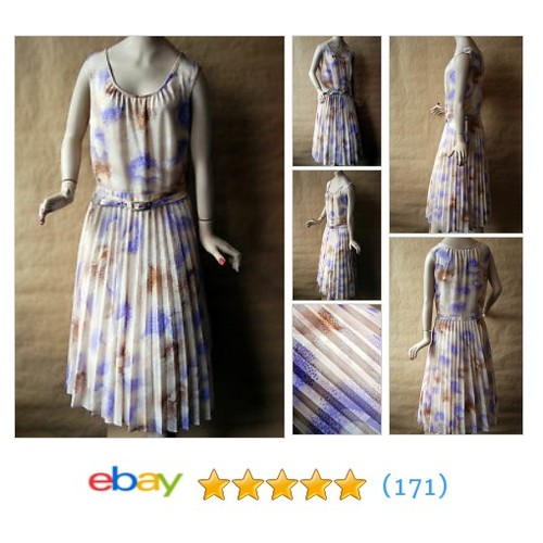 Vintage 1970s Peasant Printed Abstract BOHO Pleated Beige Rockabilly #ebay @blackratvintage  #etsy #PromoteEbay #PictureVideo @SharePicVideo
