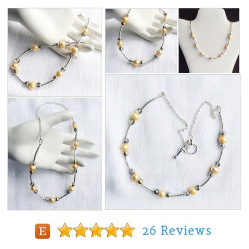 Yellow Necklace. Pearl Necklace. Silver #etsy @jansart https://www.SharePicVideo.com/?ref=PostPicVideoToTwitter-jansart #etsy #PromoteEtsy #PictureVideo @SharePicVideo