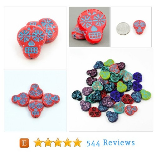 Czech Glass Beads - Sugar Skull Beads - Dia #etsy @solanakaibeads  #etsy #PromoteEtsy #PictureVideo @SharePicVideo