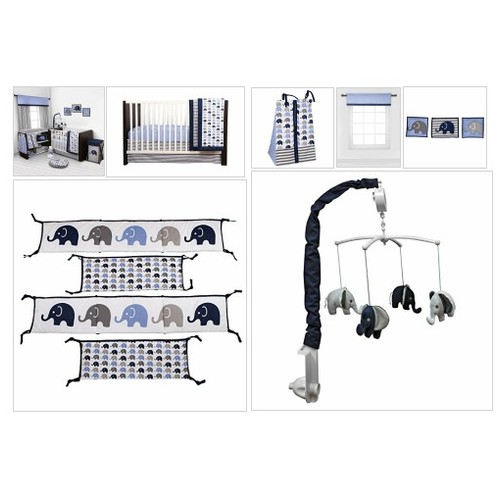#Elephants #Blue/#Grey #10# pc #crib #set #including #Bumper #Pad - Every Thing Baby #socialselling #PromoteStore #PictureVideo @SharePicVideo