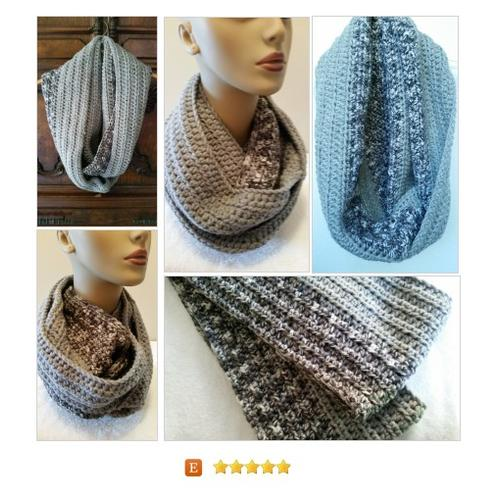 #Scarf Cowl Infinity Gray Crocheted Handmade #Wrap #Accessory #etsy #PromoteEtsy #PictureVideo @SharePicVideo