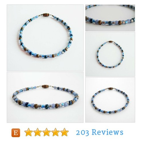 Blue Seed Bead Ankle Bracelet, Faded Denim #etsy @turquoisezebra  #etsy #PromoteEtsy #PictureVideo @SharePicVideo