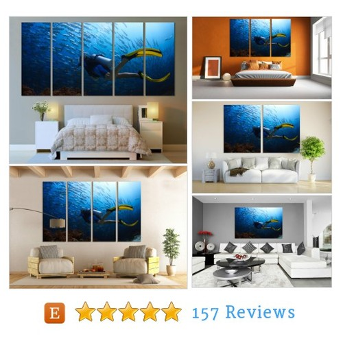 Diving Underwater Ocean Canvas Print Wall #etsy @zellartco  #etsy #PromoteEtsy #PictureVideo @SharePicVideo