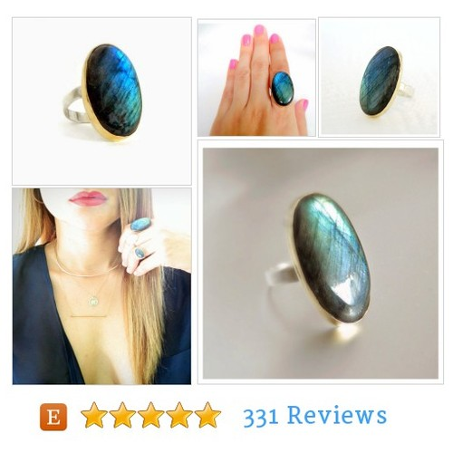 Labradorite Solid Gold Ring, Yellow Gold #Ring #etsy @estrellacam  #etsy #PromoteEtsy #PictureVideo @SharePicVideo
