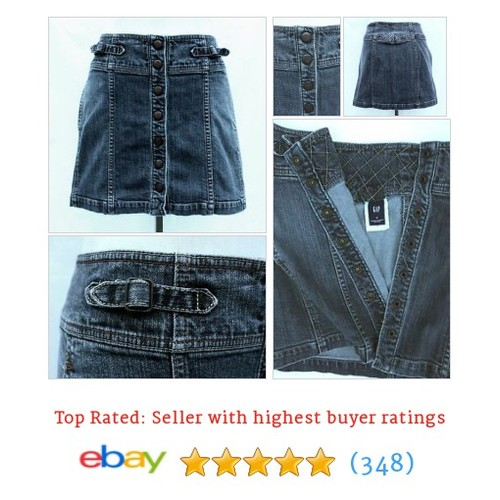 GAP Denim Mini Skirt w/ Metal Snaps - Size 4, Cotton Spandex, Tab #ebay @badrepboutique  #etsy #PromoteEbay #PictureVideo @SharePicVideo