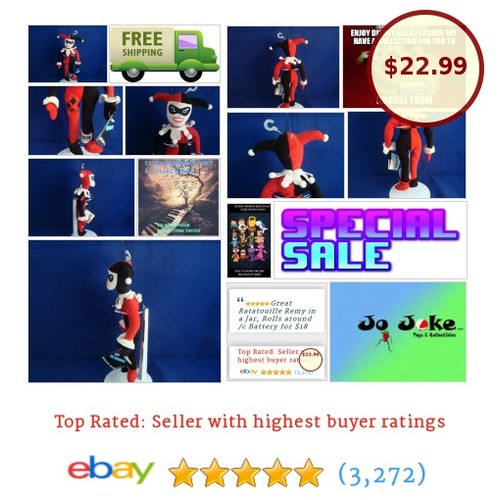 "WARNER BROS STUDIO STORE-HARLEY QUINN-10""-BEAN PLUSH-JESTER OUTFIT-NEW/TAGS-COOL 