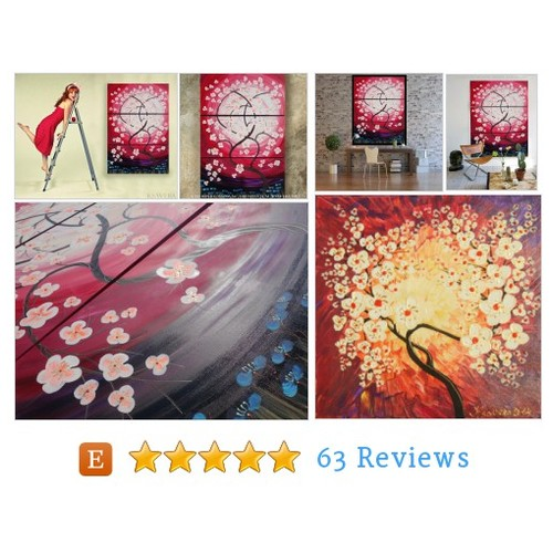 Weddings gift RosE SaKuRa sunrise painting #etsy @opart120  #etsy #PromoteEtsy #PictureVideo @SharePicVideo