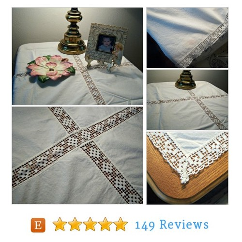 Vintage Cotton Lace Table Cloth Square #etsy @rockyspringsvtg https://www.SharePicVideo.com/?ref=PostPicVideoToTwitter-rockyspringsvtg #etsy #PromoteEtsy #PictureVideo @SharePicVideo