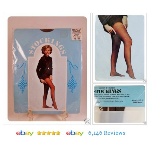 Vtg 1970s Womens Nylon Stockings NOS Taupe 1 Size USA Made #Sock #Hosiery #VintageAccessory #etsy #PromoteEbay #PictureVideo @SharePicVideo