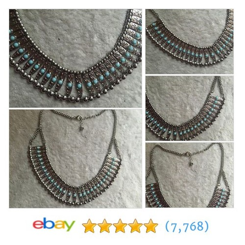 Beautiful Collar Necklace with Faux Turquoise #ebay @janleem  #etsy #PromoteEbay #PictureVideo @SharePicVideo