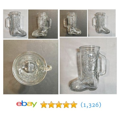 "Glass Beer Western Cowbow Boot Drinking Glass Mug 6""x2-3/4""x4"" #etsy #PromoteEbay #PictureVideo @SharePicVideo"