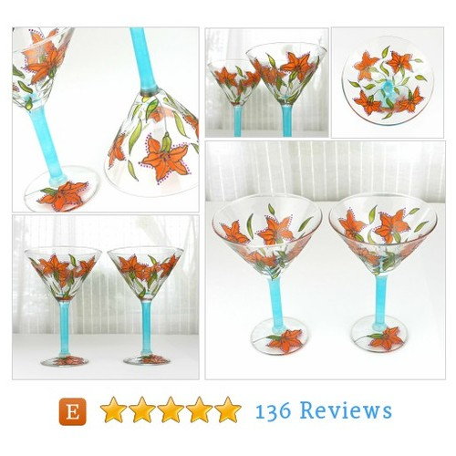 Cocktail Glasses, Hand Painted Glasses with #etsy @witchcorner  #etsy #PromoteEtsy #PictureVideo @SharePicVideo