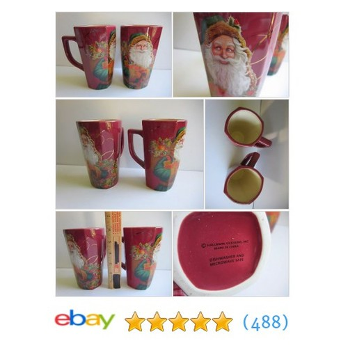 Vintage Victorian Hallmark Santa Tall Mug Latte Coffee Cup Gift Set #ebay @biggonsanything  #etsy #PromoteEbay #PictureVideo @SharePicVideo