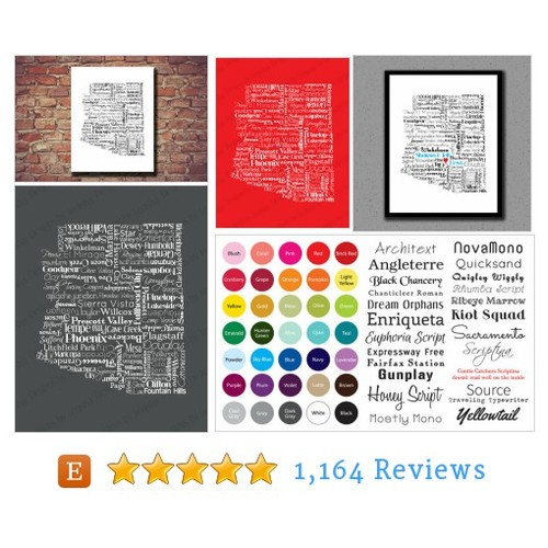 Arizona Print, Arizona Map, Typography, AZ, #etsy @artbytenisha  #etsy #PromoteEtsy #PictureVideo @SharePicVideo