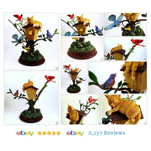 Birds & Sleeping Cat & Birdhouse 3D Tree Bradford Exchange Backyard Buddies #Bird #Bluebird #etsy #PromoteEbay #PictureVideo @SharePicVideo