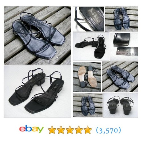 NICOLE MILLER Strappy, Black Leather Braided Sandals, Made in Italy, #ebay @oneuniqboutique  #etsy #PromoteEbay #PictureVideo @SharePicVideo