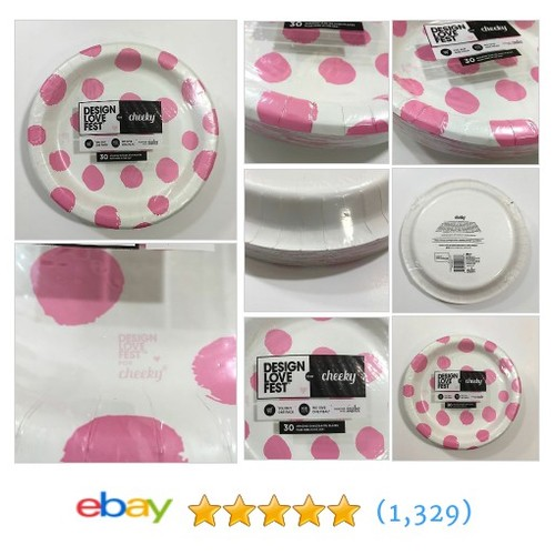 "Hot Pink Polka Dot 10"" Deep Paper Plates Microwaveable Cut Resistant 30 Count  