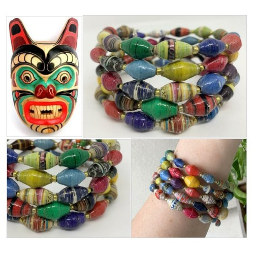 Paper Bead Memory Wire Bracelet in Bright Colors African Fair Trade Recycled Beads   Boho Cuff #etsyspecialt  #SpecialTGIF   #TMTinsta  @pawelterlecki  @BlazedRTs @FearRTs  @sme_rt  #bracelet #memorywire #paperbeads #africanbeads #sustainablebeads #etsy #PromoteEtsy #PictureVideo @SharePicVideo