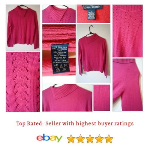 #Pink #Turtleneck #Sweater Size L Large #Beaded Solid Fun #Mock #EvanPicone #etsy #PromoteEbay #PictureVideo @SharePicVideo