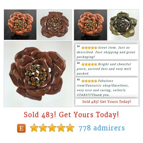 Brown Swirled Enamel Flower Brooch with Orange Rhinestone Center #etsy @montecristosnc  #etsy #PromoteEtsy #PictureVideo @SharePicVideo