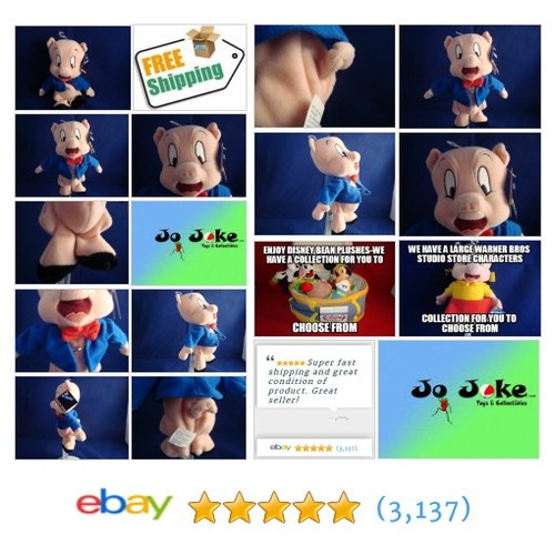 "WARNER BROS STUDIO STORE-PORKY PIG BEAN PLUSH-8""-RETIRED-LOONEY TUNES-NEW/TAGS 