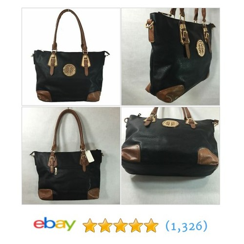 "Medallion Collection Black & Brown High Quality Faux Leather Tote 18""x12.5""x4.5""  