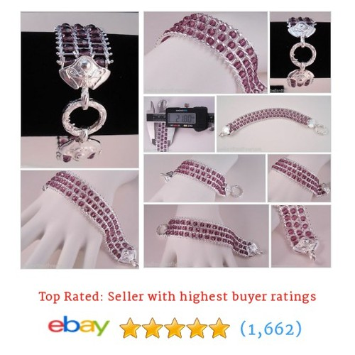 ITALY 925 STERLING SILVER AUSTRIAN AMETHYST CRYSTALS RICCIO CHAIN #ebay @damill33donna  #etsy #PromoteEbay #PictureVideo @SharePicVideo