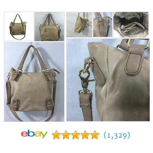 "Studio S Woman's Faux Leather Oatmeal Shoulder Cross body 13""x14""x5"" Handbag  